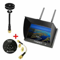 Eachine LCD5802D 5802 800*480 7 Inch 5.8G 40CH FPV Diversity Monitor with DVR Build-in Battery + Realacc 5dBi 8dBi Pogoda TFP-Mini Triple Feed Patch LHCP/RHCP Antenna - Red+White LHCP