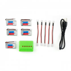 5X Eachine E011 3.7V 260MAH 30C Battery Charger Set RC Quadcopter Spare Parts