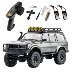 Eachine FMS 1/18 2.4G Land Cruiser 80 For TOYOTA Partly Waterproof Crawler Off Road RC Car Vehicle Models RTR Remote Control Car Two Battery - Grey