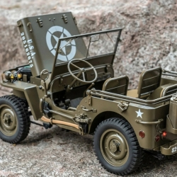 Eachine Rochobby 1941 Willys MB 1/12 RC Car RC Off-Road Crawler RTR RC Army Truck with LED Lights 2-Speed Gearshift and Remote Control